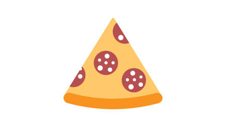 slice of pizza on a white background, vector illustration. appetizing pizza on thin crust stuffed with sausage and cheese. harmful, high-calorie food. fast food lunch, quick snack.