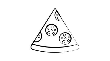 slice of pizza on a white background, vector illustration. appetizing pizza on thin crust stuffed with sausage and cheese. decoration of the kitchen, restaurant and cafe. delicious lunch, fast food. 向量圖像