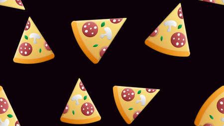 Hand draw pizza. Doodle pizza seamless pattern background. Fast food seamless vector pattern. Illusztráció