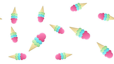 ice cream with several creamy balls on a white background, vector volumetric illustration, pattern. milk ice cream, berry flavor. decor and decoration of kitchen and cafe, wallpaper for restaurant.