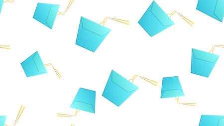 wok noodles in blue box, white background, vector illustration, pattern. appetizing noodles, a Japanese dish. wallpaper design, restaurant, cafe decor, food preparation areas.