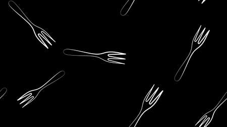 Black Fork icon isolated seamless pattern on white background. Vector Illustration.