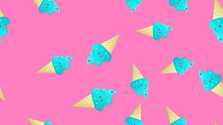 ice cream with balls in a waffle glass on a pink background, vector illustration, pattern. wallpaper for the cooking area. decor for kitchen, restaurant and cafe.