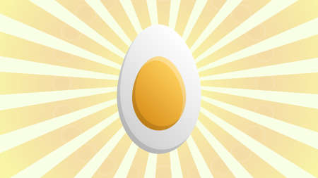 Chicken egg sign. Vector. Dark red icon in lemon chiffon shutter bubble at red popart background with rays.