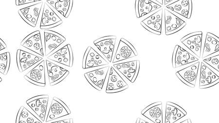 Linear seamless pattern from big round pizza. Italian fast food with salami, cheese and tomatoes. Black line on white isolated background. Vector. Template for menu, signboard, flyer, poster. 向量圖像
