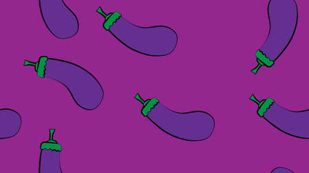 Vector Seamless Pattern of Cartoon Eggplant on Purple Background.