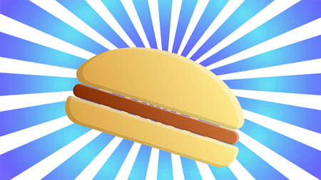 colorful and bright burger on a blue and yellow background with stripes, vector illustration. appetizing burger on a staged background. wallpaper for cafe, fast food. snack with a sandwich.
