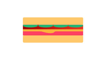 Breakfast, delicious start to the day. Simple sandwich with cheese and vegetables. Vector illustration cartoon flat icon isolated on white.