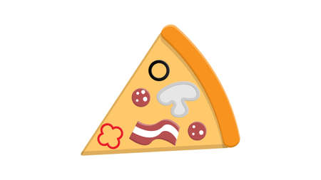 slice of pizza on thin dough, on a white background, vector illustration. pizza with filling, vegetables, mushrooms, meat and sausage. salty food. fast food from cafes, restaurants.