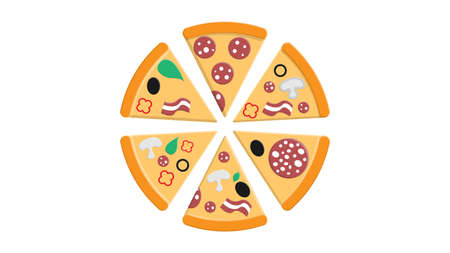 pizza with toppings on a white background, vector illustration. a lot of pizza slice with different toppings of salami with lard, olives, bacon and vegetables. fast food snack, salty food. Ilustração