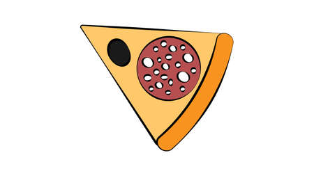 slice of pizza on a white background, vector illustration. an appetizing slice of pizza stuffed with salami and black olives. fatty fast food lunch, salty high-calorie snack. Ilustração