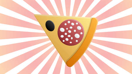 slice of pizza on a white and pink retro background, vector illustration. an appetizing slice of pizza stuffed with salami, bacon and olives. fast food snack, salty food.