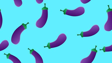 eggplant on a blue background, vector illustration, pattern. purple eggplant. vegetable for salad and eating. seamless illustration, pattern. wallpaper for kitchen and restaurant decor.