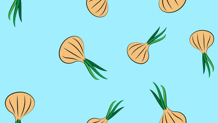 Vector seamless pattern with hand drawn white onion bulbs and spring onions. Beautiful food design elements, green vegetables illustration. Perfect for prints and patterns.