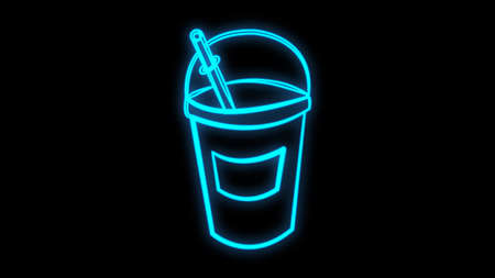 Glowing neon line Milkshake icon isolated on black background. Plastic cup with lid and straw. Colorful outline concept. Vector Illustration. Ilustracja