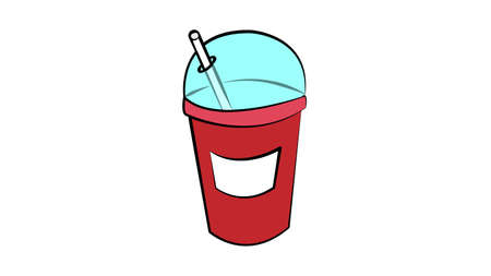 A take away glass of soda with a straw. Summer drinks.