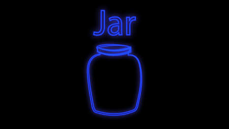 Glowing neon line Pickled cucumbers in a jar icon isolated on brick wall background. Vector. Ilustracja