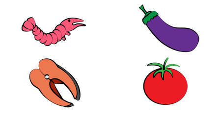 Vector flat illustration of vegetables and seafood sets on colorful background. Cartoon. Elements for design. Healthy food set. Organic. Isolated. Fish.