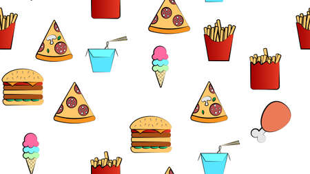 Seamless endless pattern of different delicious hearty hot fries, pizza, ice cream, fast food noodles on a white background. Texture.