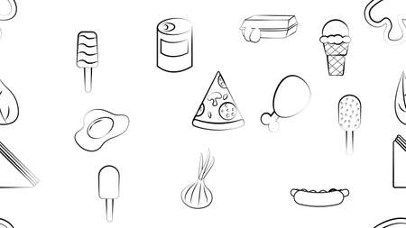 Black and white endless seamless pattern of food and snack items icons set for restaurant bar cafe: hot dog, sandwich, pizza, ice cream, eggs, fish. The background.