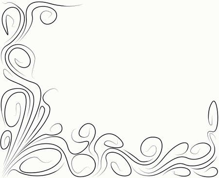 floral corner: Background with black abstract curls