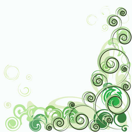 Background wiith green abstract curls    Illustration