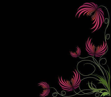 Background wiith red abstract flowers    Vector
