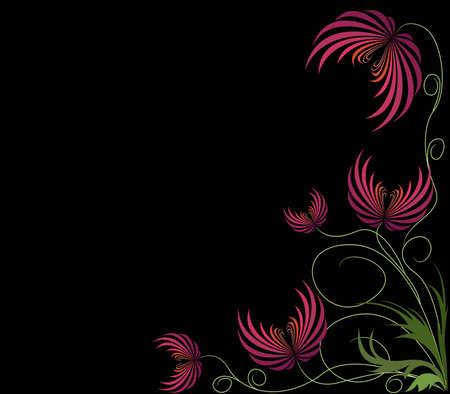 Hintergrund wiith rote abstrakte Blumen