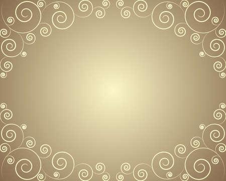 Golden frame with curls    Illustration