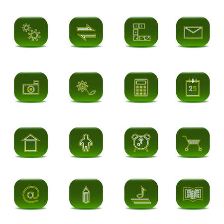 Sixteen green icons  Illustration