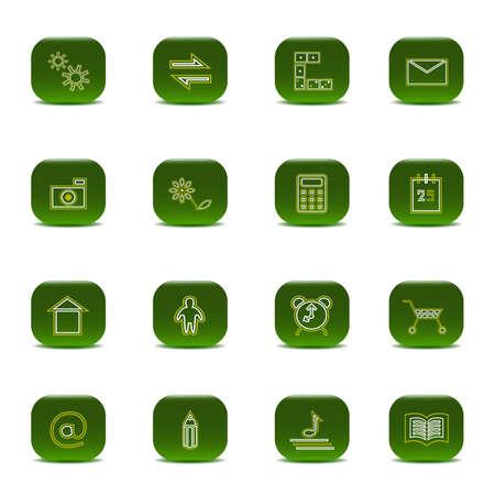 Sixteen green icons  Illustration