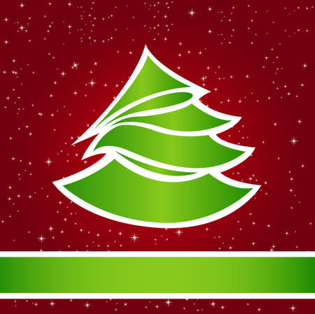 Christmas card with a green fir-tree