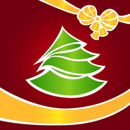 Weihnachtskarte mit einem gr�nen Tanne