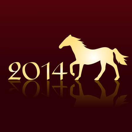 New Year s Karte 2014 mit einem Pferd Illustration