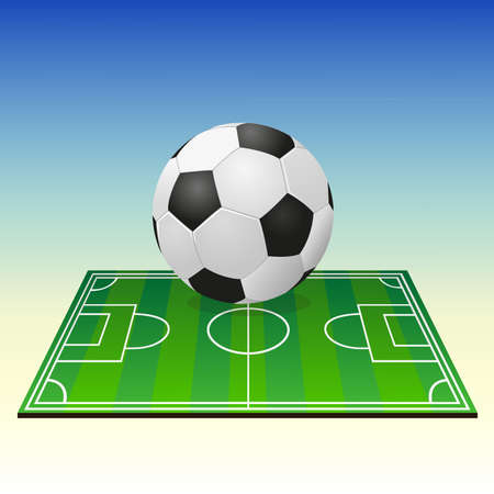 Soccerball on a football field Illustration