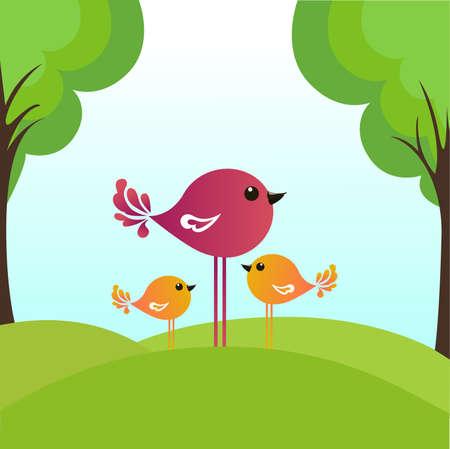 Vogel mit Baby V�gel in der Sommerholz