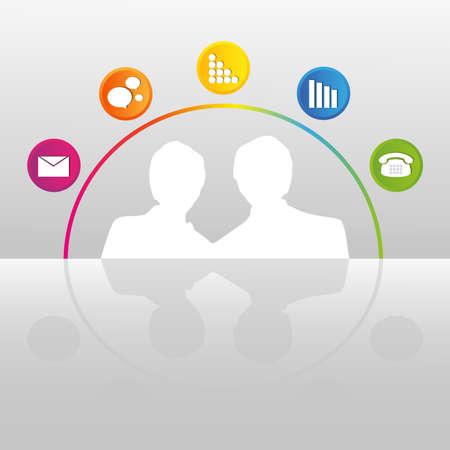 interactions: Concept van de sociale interacties van mensen Stock Illustratie