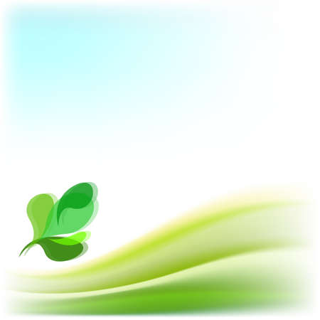 saturated color: Abstract vector background with green leaves