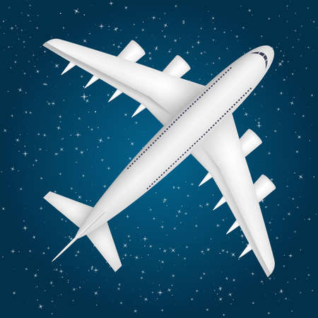 Airliner in the star sky
