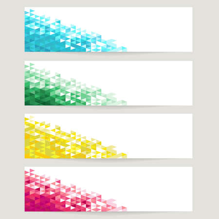 Abstract backgrounds with blue, green, yellow and red crystals Illustration