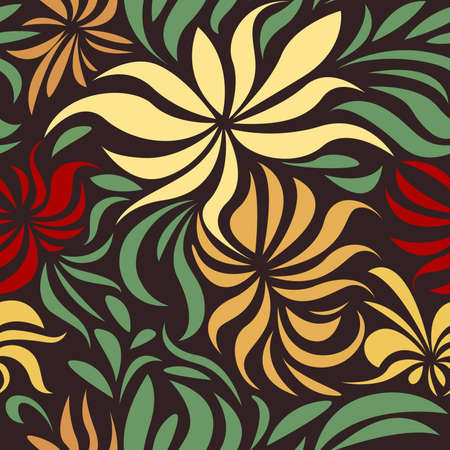 Abstract retro flower seamless pattern