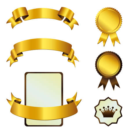 Vorlage von Gold B�nder und Medaillen Illustration