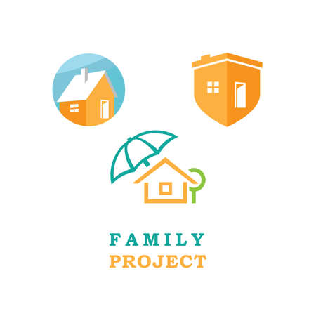 Abstract icons protected home. Format EPS 10. Illustration