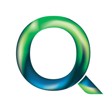 The letter Q is in blue-green color