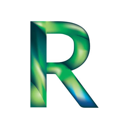 The letter R is in blue-green color.