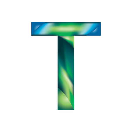 The letter T is in blue-green color.