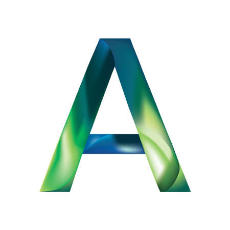 The letter A is in blue-green color. Illustration