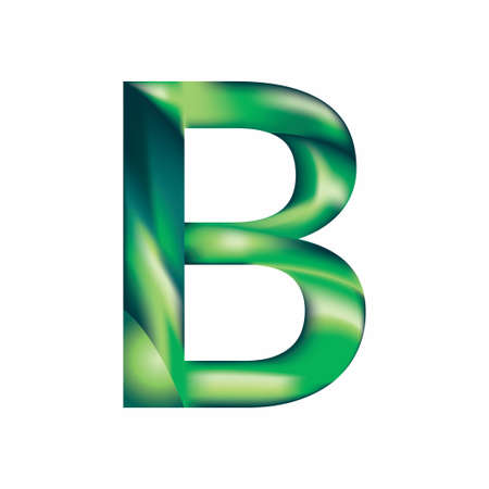 The letter B is in blue-green color. Eps.8