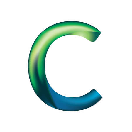 The letter C is in blue-green color. Eps.8