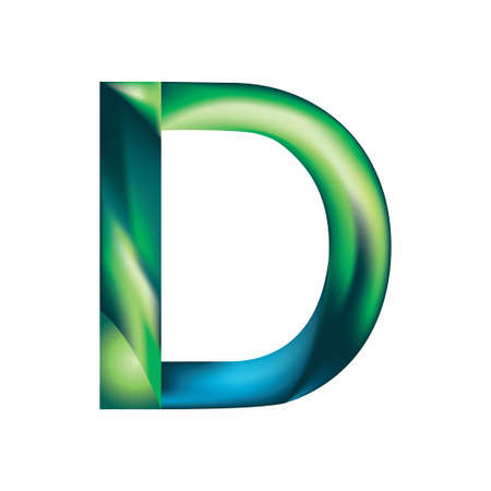 The letter D is in blue-green color. Eps.8 Illustration